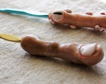 Clay Creepy Crochet Hook Pair, Eye Balls and Severed Finger