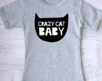Crazy cat baby clothes, Cute and funny baby romper with cat print, Cat baby clothes, Meow baby clothes