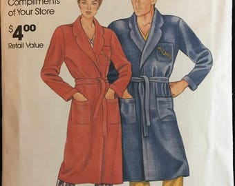 McCalls 1980s Quick Wrap Up Robe with Notched Collar and Extended Shoulders - Size S M L XL