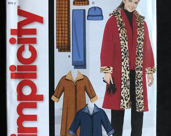 Simplicity 5727 - Easy to Sew Knee Length Coat with Contrast Collar, Scarf, and Hat - Size XS S M L XL