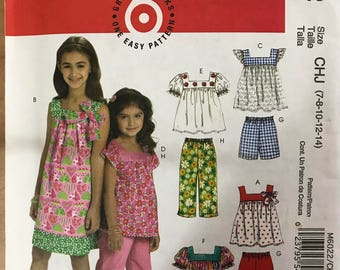 McCalls M6022 - Little Girl's Yoked Dress or Top with Square Neckline and Pull on Shorts or Cropped Pants - Size 3 4 5 6 OR 7 8 10 12 14