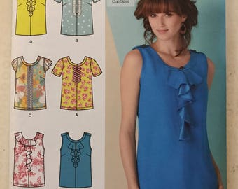 Simplicity 1886 - Sleeveless or Short Sleeved Top with Lace, Flounce, and Ribbon Trim Options - Size 6 8 10 12 14