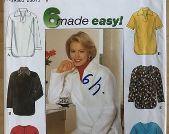 Simplicity 7764 - Collared Top or Tunic with Shirttail Hem - Size XS S M