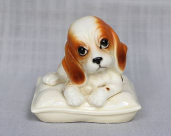 Cute Spaniel Dog on the Pillow Figurine, Vintage Puppy Dog Porcelain Figurine, Japanese Puppy Statue, Made in Japan Figurine