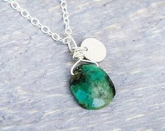 Genuine Emerald Jewelry - Real Emerald Necklace - Real Emerald Jewelry - May Birthstone Necklace - Emerald Necklace  - Emerald Pendant