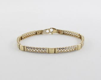 Diamond Cut Bracelet 14k Yellow Gold 7 3/4 Inches 12.2 grams