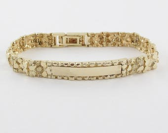 "14k Yellow Gold Men's ID Nugget Link Bracelet 8 "" 28.4 grams"