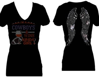 Cowboys and Wine Angel Wings Football Rhinestone Sports V Neck Short  Sleeve Womens Tee Shirt