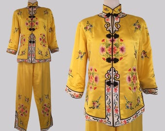 Vintage 1950s Chinese Canary Yellow Silk Embroidered Jacket and Pants Set / Asian Lounging Set / 50s Chinoiserie / oriental
