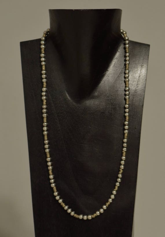 Necklace Long Bright Silver African Brass Heishi Beads Handmade Silver Round Beads Brass Simple Elegant Beaded Necklace