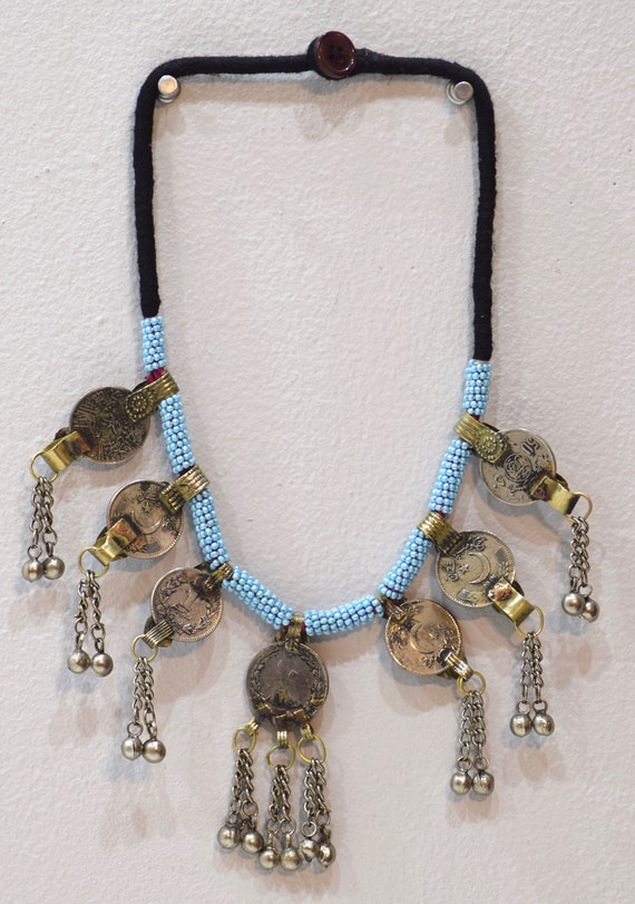 Necklace Middle East Blue Beaded Silver Kuchi Coin Necklace 26""