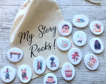 Story Stones - Tea Party Collection / Travel Toy / Educational Play / Birthday Gift / Christmas Gift / D-tailswa