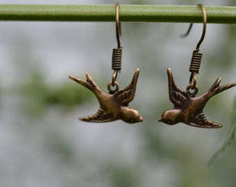 Tiny Bronze Sparrow Earrings