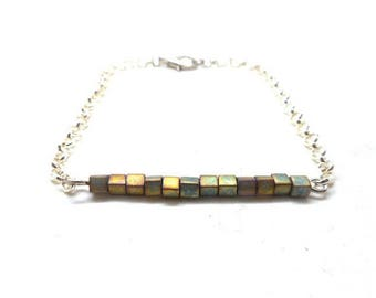 Bronze square beads silver bracelet