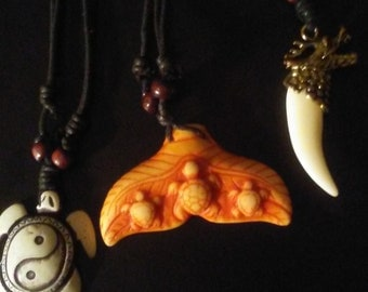 One trio turtle, turtle fin and dragon tooth, pendant necklace, free shipping