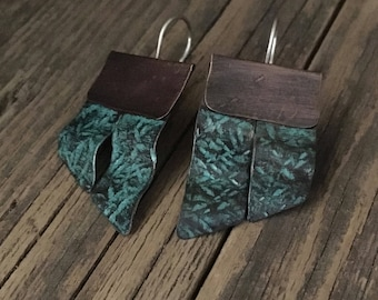 Turquoise copper earrings, hand forged layered earrings