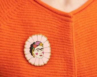 Frida Kahlo brooch, Frida Kahlo jewelry, Flower crown, Colourful brooch, Feminist jewelry, Mexican, Frida flower brooch, Flower brooch