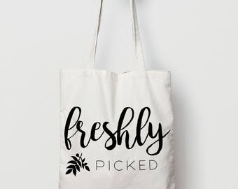 Freshly Picked Tote Bag - Canvas Tote Bag - Cotton Tote Bag - American Apparel Tote Bag