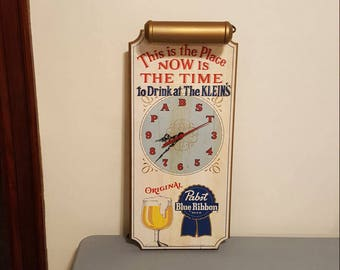 Pabst blue ribbon 1950s beer light up clock sign WORKS