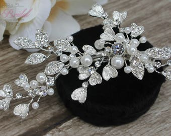 FAST Shipping!!! Silver Bridal Hair Comb with Fresh Water Pearls, Wedding Hair Comb, Crystal Hair Comb, Swarovski Hair Comb, Hair Comb