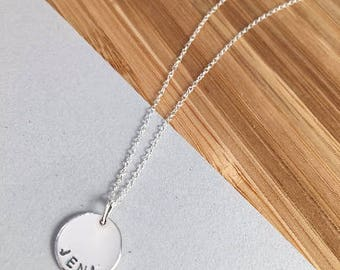 Sterling Silver Name Necklace | Personalised Name Necklace | Personalised Handstamped Necklace | Custom Name Necklace | Bridesmaid Gift
