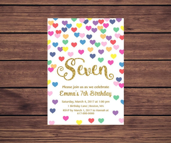 7th birthday invitation girl any age colorful hearts girl first il570xn stopboris Image collections