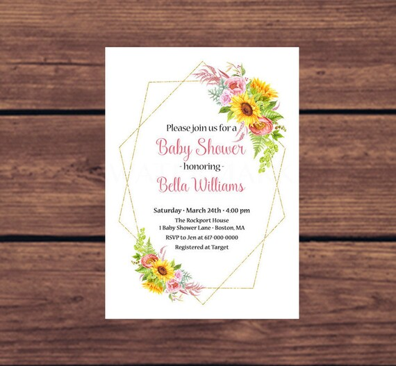 Sunflower baby shower invitation sunflowers baby shower invitations il570xn filmwisefo