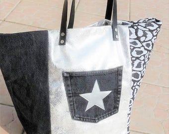 Designer tote bag patchwork leather silver antiqued/leopard/denim recycled grey Pocket star, black leather handles