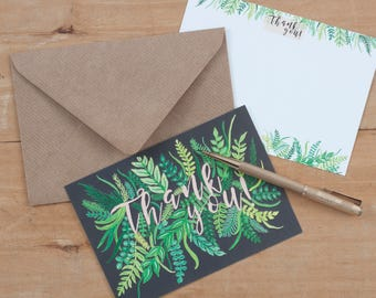 Thankyou Notelet Pack |  Foliage Patterned Notelets | Illustrated Set of 8 Notelets | Notelets | Correspondence | Notecards | Leaf Print