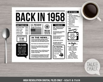 Back In 1958 PRINTABLE Placemat - 60th Birthday Decoration - 60th Birthday Table Decoration - DIY printing - DIGITAL file