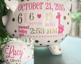 Personalized gifts for lifes beautiful events by bubbiered personalized piggy bank custom baby birth stats gift baby girl piggy bank toddler negle Image collections