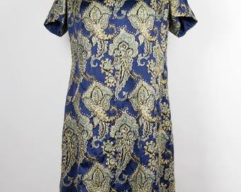 Vintage Dress //60s // Blue //Gold //
