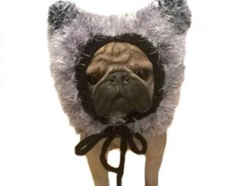 Black and White Dog hat, dog hood knitted dog hat winter dog hat pug hat small dog hat, dog attire, dog clothing, dog clothes, dog snood UK