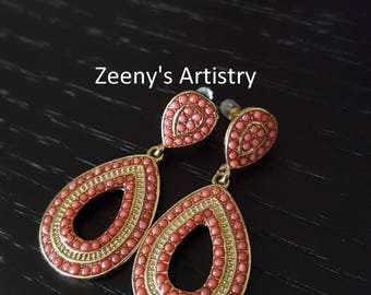 Earrings- Gold and coral earrings
