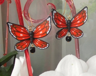Butterfly earrings Machaon earrings gift for her polymer clay jewelry summer jewelry insect jewelry butterfly jewelry Machaon jewelry Monarh