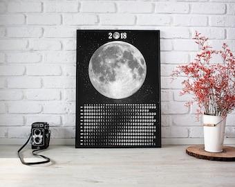 2018 Wall Calendar, Moon Phases Calendar 2018, Lunar Phases Calendar, Moon Poster, Lunar Phases Print, Solar System Poster, Moon Cycles