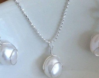 Sterling Silver white Baroque Freshwater Pearl necklace - wire wrapped Pearl jewellery - bridesmaid gift