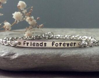 Friend bracelet, best friend bracelet, sterling silver, silver bar bracelet, hand stamped, delicate bracelet, best friend jewellery