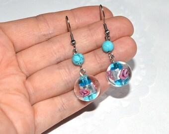 murano glass jewelry blue earrings handmade glass earrings summer earrings dangle drop earrings womens gift ideas jewelry for women earrings