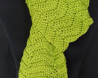Crocheted Kiwi Chevron Ripple Scarf