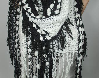 Knitted Scarf Tassel Scarf Black and White Scarf Winter Scarf Women Fashion Accessories Christmas Gift Ideas  Pom Pom Scarf