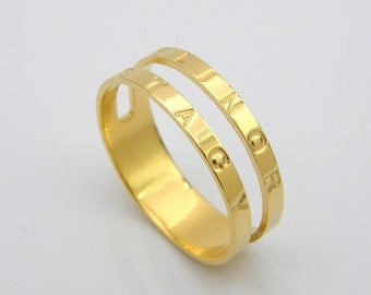 Personalized Stackable Ring Name Rings Engraved Custom Initial Gold
