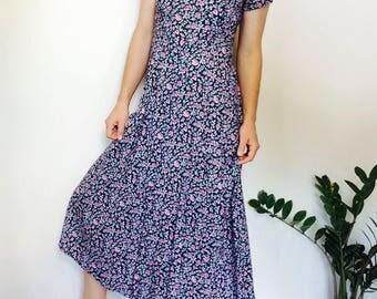 floral maxi dress 90s long dress vintage navy dress navy maxi dress floral maxi dress long navy dress long floral dress vintage dress grunge