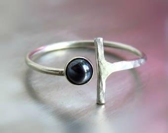 Black onyx ring / Black stone ring / Gemstone silver ring - Stacking silver ring,