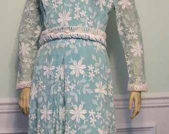 1960s Carrie Couture Dress Daisies Embroidered Easter Aqua