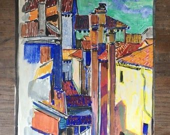 "Erick J. Smith VENICE 1922 Original Signed Watercolor Village Scene Architecture 8 3/8"" x 10 1/2"""