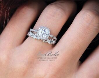 2.33 ct.tw Art Deco Bridal Set Ring-Cushion Cut Halo Engagement Ring w/ Leaf & Vine Vintage Wedding Ring-Sterling Silver [65361-2A]