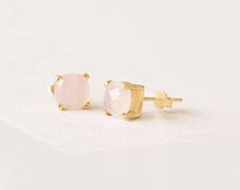 Rose Gemstone Earrings - Natural Stone Studs - Rose Quartz Stud Earrings - Pink Mineral Post Earrings - Gold Plated Delicate Earrings