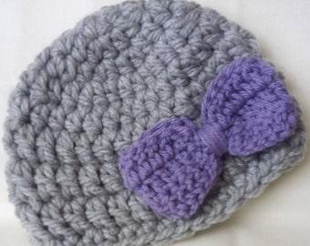 Chunky crochet baby hat newborn photo prop bow baby beanie hospital hat handmade