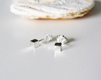 Cube Earrings Sterling Silver, small earrings, minimalist earrings, cube earrings, inspirational earrings, geometric earrings